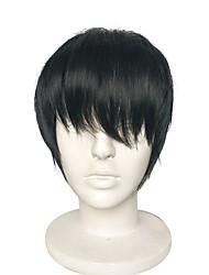 abordables -Pelucas sintéticas Liso Natural Corte a capas Pelo sintético Entradas Naturales Negro Peluca Mujer Corta Sin Tapa
