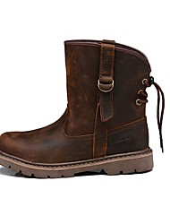 cheap -Men's Shoes Real Leather Cowhide Nappa Leather Winter Fall Cowboy / Western Boots Fashion Boots Motorcycle Boots Boots Mid-Calf Boots for