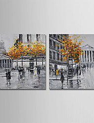 cheap -Hand-Painted Landscape Horizontal,Modern Canvas Oil Painting Home Decoration Two Panels