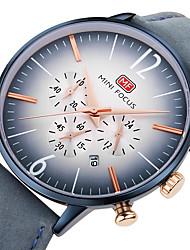 abordables -Hombre Reloj Casual Reloj de Pulsera Japonés Cuarzo Cronómetro Reloj Casual Cuero Auténtico Banda Casual Cool Minimalista Negro Azul