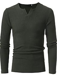 preiswerte -Herrn Gestreift Alltag Freizeit Pullover Langarm V-Ausschnitt Winter Herbst Polyester