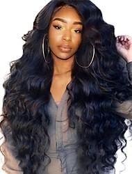 Недорогие -Натуральные волосы Лента спереди Парик Боковая часть стиль Бразильские волосы Естественные кудри Kinky Curly Парик 250% Плотность волос с детскими волосами Природные волосы Pre / Pre-щипковых