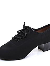 Недорогие -Обувь для латины Полотно На каблуках На толстом каблуке Персонализируемая Танцевальная обувь Черный