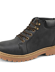 cheap -Men's Shoes Pigskin Winter Fall Comfort Combat Boots Boots Lace-up for Casual Black Camel
