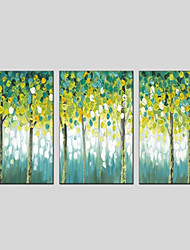 cheap -Oil Painting Hand Painted - Floral / Botanical Modern Three Panels