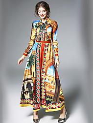 baratos -Feminino Evasê Vestido,Para Noite Trabalho Casual Moda de Rua Geométrica Estampado Estampa Colorida Colarinho de Camisa Longo Manga