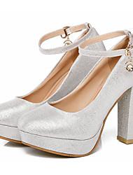 Недорогие -Жен. Обувь Полиуретан Весна Осень Удобная обувь Обувь на каблуках На толстом каблуке для Серебряный