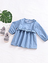 cheap -Baby Girl's Daily Solid Polka Dot Dress, Cotton Linen Bamboo Fiber Acrylic Spring Simple Vintage Short Sleeves Blue