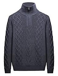 cheap -Men's Long Sleeves Pullover - Solid Color Stand