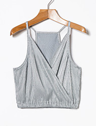 cheap -Women's Polyester Tank Top - Solid V Neck