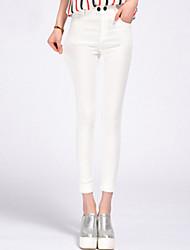 cheap -Women's Modern Style Cotton Medium Solid Color Legging,Solid Black White Blue