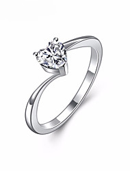 cheap -Men's Women's Couple Rings Knuckle Ring Crystal Cubic Zirconia Rhinestone Silver Alloy Heart LOVE Elegant Sweet Gift Wedding Valentine