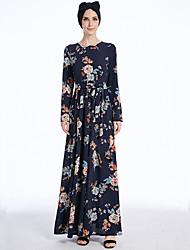 Недорогие -Мода Jalabiya Платье Кафтан Абайя Арабское платье Жен. Фестиваль / праздник Костюмы на Хэллоуин Синий Рисунок