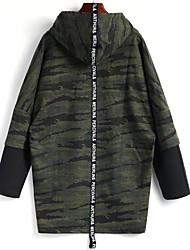 economico -Per uomo Taglie forti Manica lunga Felpa con cappuccio Camouflage Con cappuccio