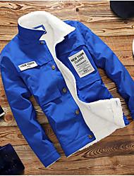 Недорогие -Муж. Куртка Рубашечный воротник Хлопок Крупногабаритные С принтом
