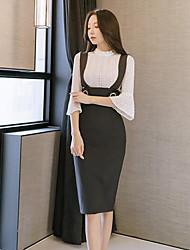Недорогие -Жен. Облегающий силуэт Платье - Сплошной цвет Завышенная