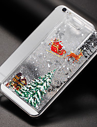 baratos -Capinha Para iPhone 7 / iPhone 7 Plus / iPhone 6s Plus iPhone 8 / iPhone 8 Plus Liquido Flutuante Capa traseira Glitter Brilhante / Natal Rígida PC para iPhone 8 Plus / iPhone 8 / iPhone 7 Plus