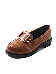 cheap -Women's Shoes Rubber Winter Comfort Oxfords Round Toe for Outdoor Black Coffee