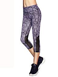 Недорогие -Жен. Укороченные брюки для бега Воздухопроницаемость 3/4 Виноделие Колготки Йога / Бег Полиэстер Темно-лиловый: M / L / XL