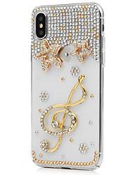 Недорогие -Кейс для Назначение Apple iPhone X iPhone 8 Plus Стразы Чехол Цветы Твердый Кожа PU для iPhone X iPhone 8 Pluss iPhone 8 iPhone 7 Plus