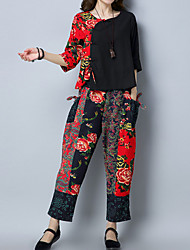 cheap -Women's Chinoiserie Cotton Loose Set - Floral, Print Pant