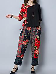 economico -Per donna Stoffe orientali Cotone Largo Set - Con stampe, Fantasia floreale Pantalone