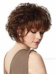 Недорогие -Парики из искусственных волос Волнистый С чёлкой Искусственные волосы Коричневый Парик Жен. 4-8 дюйм Парик из натуральных волос Без
