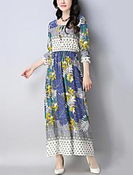 cheap -Women's Beach Holiday Boho Chinoiserie Swing Dress,Print Patchwork Round Neck Maxi Long Sleeve Cotton Linen Spring Mid Waist Inelastic