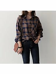 cheap -Women's Daily Vintage Shirt,Check Shirt Collar Long Sleeve Cotton