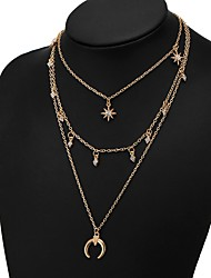 cheap -Women's Multi Layer Moon Star Rhinestone Layered Necklace - Basic Multi Layer Moon Star Gold Silver Necklace For Daily Office & Career