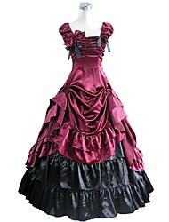 preiswerte -Rokoko Viktorianisch Kostüm Damen Erwachsene Austattungen Rot + schwarz Vintage Cosplay Taft Kurzarm Puffärmel/Ballon