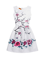 cheap -Girl's Daily Going out Dress, Cotton Summer Sleeveless Cute Street chic White