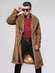 Недорогие -Муж. Повседневные Зима Длинная Пальто с мехом V-образный вырез, Винтаж Однотонный Искусственный мех Крупногабаритные