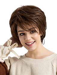 Недорогие -Человеческие волосы без парики Натуральные волосы Прямой Стрижка каскад С чёлкой Боковая часть Короткие Машинное плетение Парик Жен.