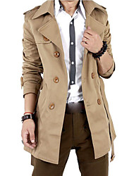 cheap -Men's Long Cotton Slim Trench Coat - Solid Colored, Oversized Shirt Collar
