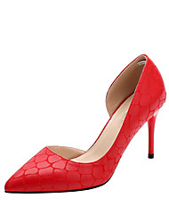 preiswerte -Schuhe PU Frühling Herbst Pumps High Heels Stöckelabsatz Spitze Zehe für Kleid Party & Festivität Schwarz Grau Rot