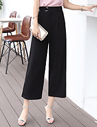 cheap -Women's Mid Rise Micro-elastic Business Pants,Casual Solid Polyester Spring/Fall