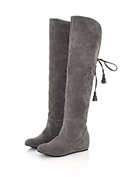 cheap -Women's Shoes Nubuck leather Spring / Fall Comfort / Snow Boots Boots Flat Heel Knee High Boots Gray / Brown / Red