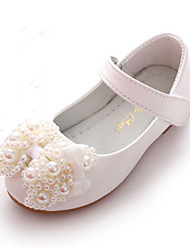 cheap -Girls' Shoes PU Spring Fall Comfort Novelty Flower Girl Shoes Flats Bowknot Beading Magic Tape for Wedding Party & Evening Pink White