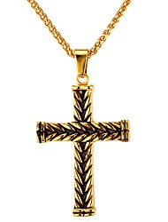 cheap -Men's Pendant Necklace - Stainless Steel Cross Vintage Gold, Silver Necklace One-piece Suit For Daily, Street