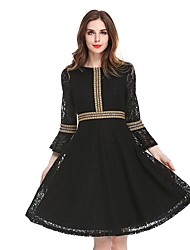 cheap -Women's Party Work Vintage Casual A Line Lace Dress,Color Block Round Neck Knee-length Long Sleeve Polyester All Season Fall High Waist