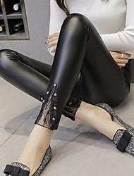 cheap -Women's Lace PU Medium Stitching Lace Legging,Plaid Black
