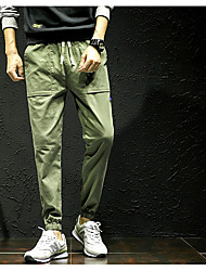 Herre Normal Simple Mikroelastisk Chinos Bukser, Medium Talje Andet Ensfarvet Forår