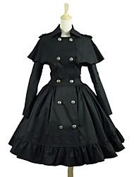 cheap -Punk Lolita Dress Rococo Women's Adults' Dress Cosplay Black Long Sleeves Knee Length