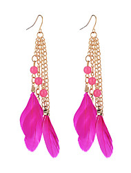 baratos -Mulheres Opala Brincos Compridos - Opala Pena Fashion Arco-íris / Rosa claro / Azul Real Para Para Noite