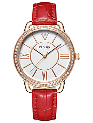 cheap -CADISEN Women's Quartz Wrist Watch Japanese Water Resistant / Water Proof Casual Watch Leather Band Casual Elegant Fashion Black White Red