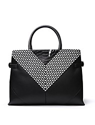 cheap -Women's Bags Cowhide Tote / Shoulder Bag Zipper Black / White