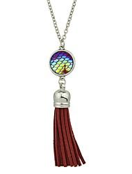 Недорогие -Жен. Имитация турмалина Ожерелья с подвесками - Простой Классический Круглый Ожерелье Назначение Повседневные Новый год