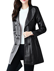 cheap -Women's Going out Leather Jacket - Solid Colored, Oversized V Neck