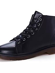 Homens sapatos Couro Ecológico Primavera Outono Coturnos Botas Botas Cano Médio para Casual Branco Preto Vermelho